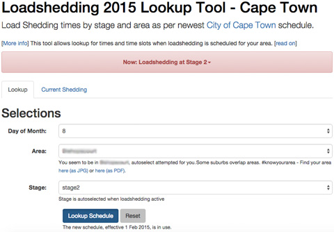 Loadshedding 2019 Lookup Tool - Cape Town load shedding times and status